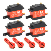JMT 4PCS 20KG Digital Servo 180° / 270° / 360° Large Torque Metal Shell Servo Waterproof with 4Pcs 25T Metal Servo Arm for Car Model / Multi-Rotor Aircraft / Helicopter / Robot / RC Toy