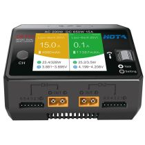 HOTA D6 Pro AC/DC AC 200W DC 650W 15A Dual-channel Smart Charger with Wireless Charging for LiHv/LiPo/LiFe/Lilon/Lixx 1~6S/NiZn/Nicd/NiMH 1~16S Batteries