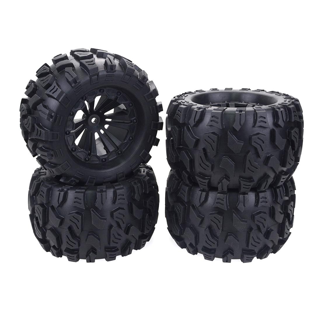 Set Rubber 125mm 1//10 RC Car 4WD Truck Tire /& Hex Rims 12mm FEICHAO 4Pcs