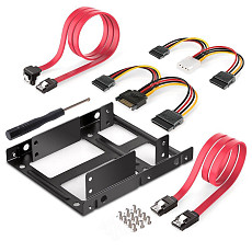 XT-XINTE SSD hard disk bracket Dual Bracket 2.5 to 3.5 SSD Mounting Kit with 4pin interface power cord + sata data cable