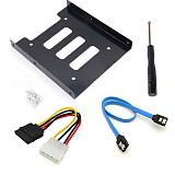 XT-XINTE Alloy hard disk bracket 2.5 to 3.5 SSD Mounting Kit with 4pin interface power cord + sata data cable