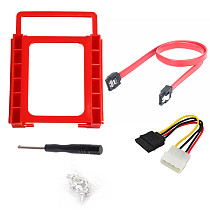 XT-XINTE 2.5 inch to 3.5 inch single hard disk bracket red plastic bracket + sata data cable + 4pin power cable
