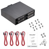 XT-XINTE 4 x 2.5 SATA Removable Tray Hot Swap HDD SSD optical Mobile Rack for 5.25  Optical Drive Bay support 7 - 15mm drives with lock