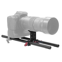 BGNING 15mm Follow Focus Rig Cage Rod Rail System with Dual Rod Clamp Baseplate for Camera Camcorder Photo Studio Accessories