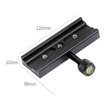 BGNING QR-120 Universal Gimbal Clamp Adapter For Quick Release Plate 1/4 3/8 Arca SWISS RSS Tripod 120mm