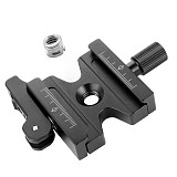 Double Lock 3/8  Quick Release Plate Adjustable Lever Knob 1/4 to 3/8 Screw Nut for Arca Swiss RRS Wimberley Tripod Ball Head