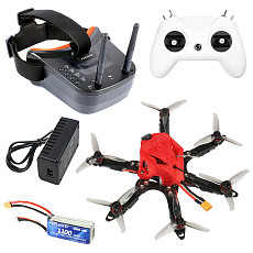 FEICHAO 175mm X6 Mini Airframe Six-Axis with Omni F4 Pro(V2) Flight Controller Built in OSD BEC 1204-5000kv Motors 20A ESC 3016 3-Blade Props 1/1.8  1200TVL 2.1mm+ND filter 11.4V/50C 1100MAH Battery FPV Camera & Goggles, TX&RX