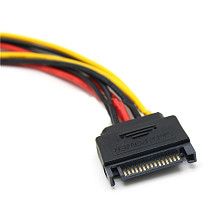 XT-XINTE 20cm 15 Pin SATA Male to 2 Female 4 Pin Female IDE HDD Power Hard Drive Cable Drop Shipping