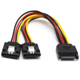 XT-XINTE 20cm SATA 15Pin Male to Dual 15P Female 90 Degree/180 Degree Y Splitter Power Adapter