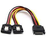 XT-XINTE 20cm SATA 15Pin Male to Dual 15P Female 90 Degree/180 Degree Y Splitter Power Adapter