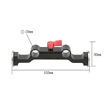 BGNing Aluminum Dual DSLR 15mm Rod Clamp with Arri M6 Rosette Mount Adapter for SLR Camera Follow Focus Photography Props
