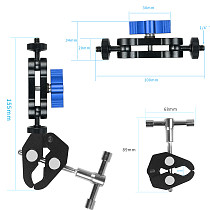 BGNING Adjustable Magic Arm Clamp Bike Clip w/ Universal 1/4  inch Screws Tripod Mount Bracket LED Monitor Holder for SLR Sports Camera