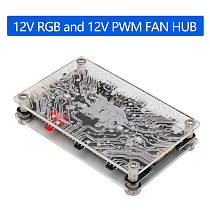 XT-XINTE 2 in 1 6-ways 5V ARGB /12V ARGB 12V PWM DC Fan Hub with Acrylic Case Magnetic Standoff for ASUS/MSI 5V 3Pin 4Pin LED Controller