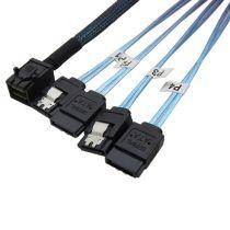 XT-XINTE 12Gbps HD36P Mini SAS SFF-8643 to 4 x SATA 7P Cable Hard Drive Cable HD Mini SAS Host/Controller to 4 SATA Backplane