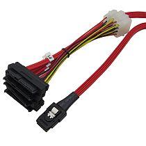 XT-XINTE Internal Mini SAS 4i SFF-8087 36 Pin to SAS 4x SFF-8482 29Pin Hard Disk SAS Cable Powered by 4Pin Connectors