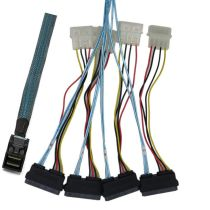 XT-XINTE Internal Mini SAS 36P SFF-8643 to (4) SAS 29pin SFF-8482 Connectors with 4Pin Power Cable Server Hard Disk Data Cable