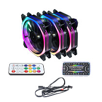 XT-XINTE 120mm RGB Color Case Fans 11- Blades Quiet Computer Cooling PC Fans RGB Color Changing LED Fan with Remote Control Music Rhythm Sync & ARGB Motherboard Sync