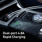 Baseus Dual USB Car Charger 4.8A 24W  5V/2.4A Fast Quick Charging Power Adapter for iPhone Samsung