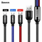 Baseus 3 in 1 Charger Cable USB to iPhone Type C Micro USB 3.5A Charging Lead