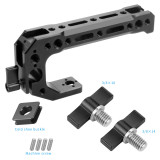 FEICHAO BSB-2 Aluminum Alloy CNC Camera SLR Rabbit Cage Kit Universal Multi-function Handle Cold Shoe Extension Accessories 15mm Rail Hole with  3/8*10mm Screw
