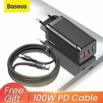 Baseus Phone Laptop Adapter 65W GaN USB Type C Wall Charger US EU Plug QC PD 3.0