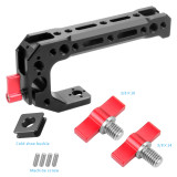 FEICHAO BSB-2C-R Aluminum Alloy CNC Camera SLR Rabbit Cage kit Universal Handle 15mm Rail Hole Cold Shoe Extension Accessories with 3/8*10mm Screw