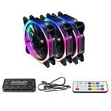 JMT 120mm RGB Color Case Fans 11- Blades Quiet Computer Cooling PC Fans RGB Color Changing LED Fan with Remote Control
