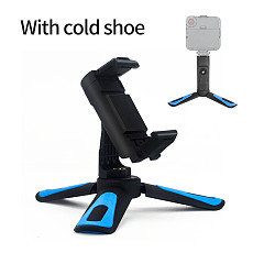 BGNING 360 Rotation Vertical 2 in 1 Mini Desktop Tripod Phone Mount Holder Stand Bracket for 58mm-85mm Mobile Clip Clamp with Cold Shoe