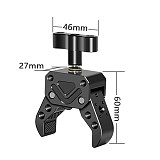 FEICHAO Super Clamp Black Knob Crab Claw Magic Arm Clamp with Mini Magic Arm Multi-Function Dual Ball Head for SLR Camera Monitor