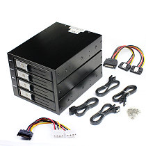 TOOLFREE 4 Bay 3.5  SATA/SAS 6Gbps Hard Drive Tray Built-in NSS Connector with SATA 15pin Power Cable Hard Disk Extraction Box