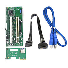 XT-XINTE PCI-E Express X1 to Dual PCI Riser Extend Adapter Card USB 3.0 Add on Cards Converter with SATA 15pin Power Cable