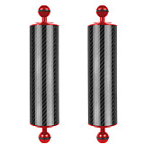 BGNING 2PCS D60mm 10/12 inch Buoyancy 447g / 550g Underwater Diving Photography Carbon Fiber Lamp Arm Dual Hand-Held Accessories 1 Inch Dual Ball Head Upgraded Version