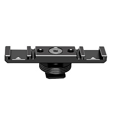 FEICHAO Aluminum Alloy Plate Universal 2 Cold Shoe Mount Extension Bar Dual Bracket with 1/4  Thread for SLR Camera Microphone