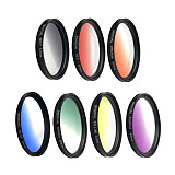 FEICAHO 12in1 37mm Gradient Filter Camera Lens Kit Grad Blue Red Filter+CPL+ND+Star Filter 0.45x Wide Angle +20x Macro Phone Camera Lens