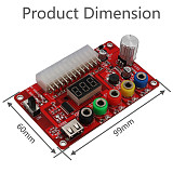 XT-XINTE ATX 24Pin Power Supply Breakout Board and Acrylic Case Kit with ADJ Adjustable Voltage Knob Supports 3.3V 5V 12V