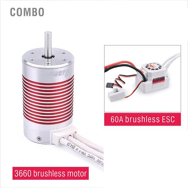 SURPASS HOBBY Platinum Waterproof Series 3660 Sensorless Brushless Motor + 60A ESC For 1/10 RC Car