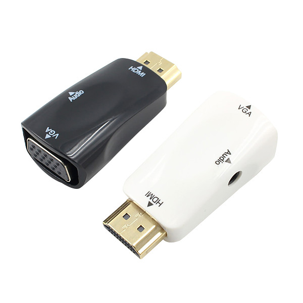 XT-XINTE Male to Female HDMI to VGA Adapter HD 720P Audio Cable Converter For PC Laptop TV Box Computer Display Projector