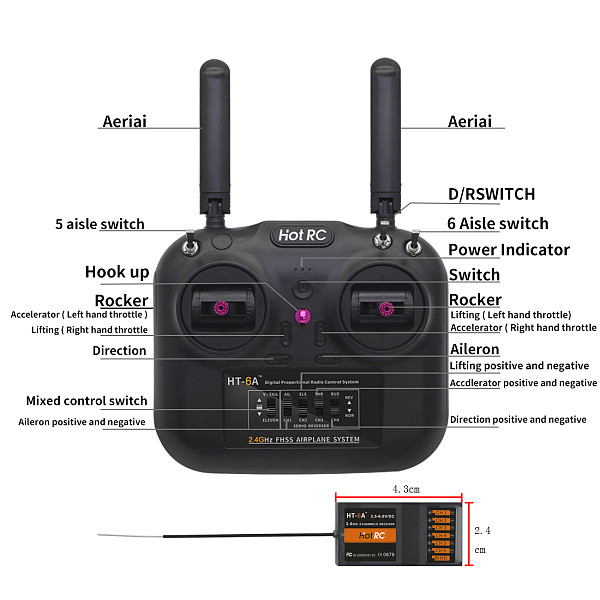 HOTRC HT-6A 2.4G 6CH RC Transmitter Radio Remote controller FHSS & 6CH Receiver With Box For FPV Drone Rc Airplane Rc Car Rc Boat