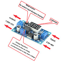 FEICHAO M2596 DC to DC Step Down Converter Voltage Regulator with LED Display Voltmeter 4.0~40 to 1.3-37V 3A Buck Adapter Adjustable Power Supply