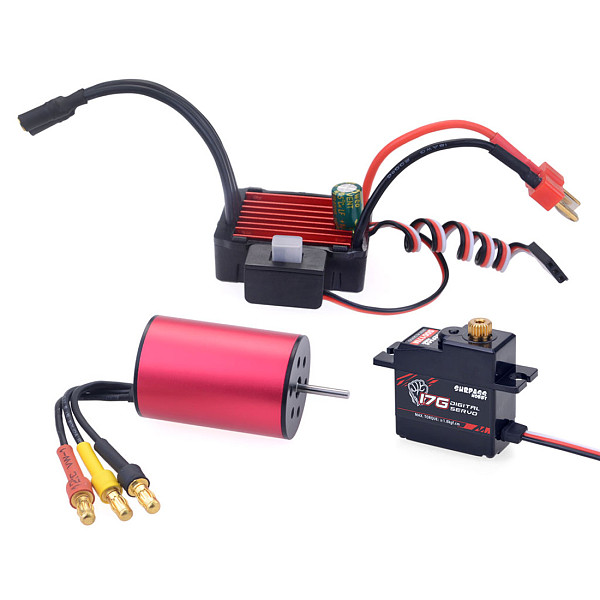 Surpass Hobby Combo 2435 3300KV Brushless Motor w/ KS25A ESC+ 17G metal Servo  for 1:16 1:18 RC Buggy Drift Racing Car Model Parts