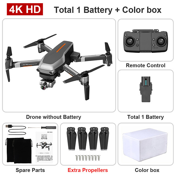 FEICHAO L109 Pro  Drone GPS HD 4K Camera 2-Axis Anti-Shake Stable Gimbal Camera 5G WIFI FPV Brushless Motor RC Quadcopter Helicopter