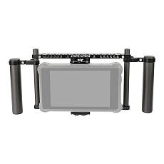 BGNing 7 Inch Monitor Protective Cage with Adjustable Carbon Fiber Dual Handgrip for Atomos Ninja Inferno/Shotgun 7/Ikan HH7