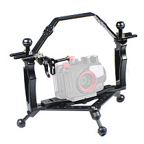 FEICHAO CNC Photography Diving Bracket Handle Tray Adjustable Double Hand Grip with Gimbal Tray Rig for Insta360 ONE R/GOPRO Series /Osmo and other Camera