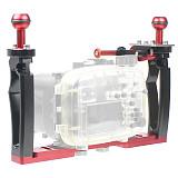FEICHAO DSLR Underwater Tray Stabilizer Bracket Dual Handheld Grip Adjustable Shutter Release Trigger Mount for Diving Camera