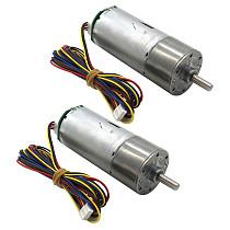 FEICHAO 2PC 555 Straight Geared Motors DC w/ Encoder Tachometer Plate 12V 24V High Torque Speed Regulating Motor
