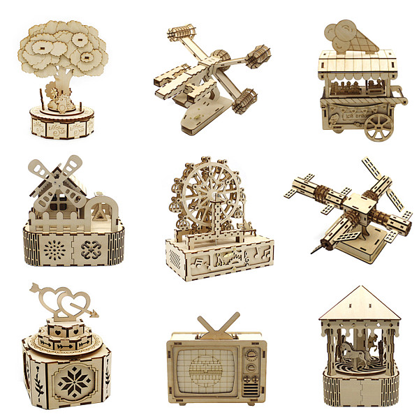 FEICHAO Creative Assembled Music Box DIY Toy Homemade Music Box Three-dimensional Model Wooden Children Gifts