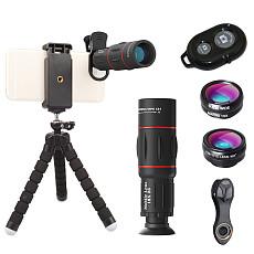 Apexel T18XBZJ5  Phone Photography Kit flexible tripod & 4-in-1 For iPhone Samsung Huawei Xiaomi Oneplus 7 Macro Fisheye Wide Angle Camera Lens kit