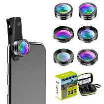 Apexel New APL-DG6 6 IN 1 Smartphone Wide Angle Camera Lens For iPhone Samsung Huawei Xiaomi Oneplus 7