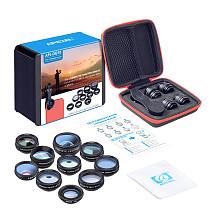 APEXEL New 10 in 1 Smartphone Phone Camera Lens Kit Wide Angle Lens & Macro Lens+Fisheye