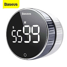 Baseus New Modern Wooden Wood Digital LED Desk Alarm Clock Thermometer Qi Wireless Charger